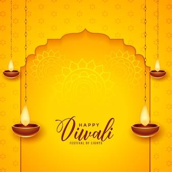 Glücklicher diwali hintergrund mit hängendem diya