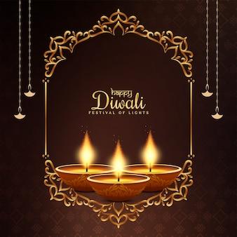 Glücklicher diwali religiöser festgrußhintergrund