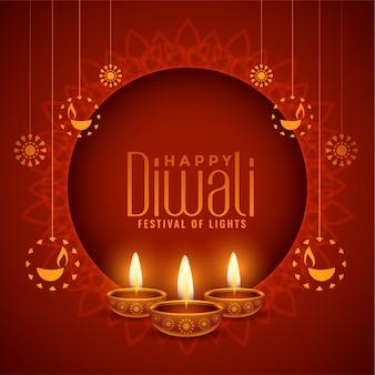 Glücklicher diwali roter dekorativer hintergrund