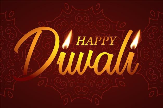 Glücklicher diwali-text mit kerzenlichtern auf rotem musterhintergrund