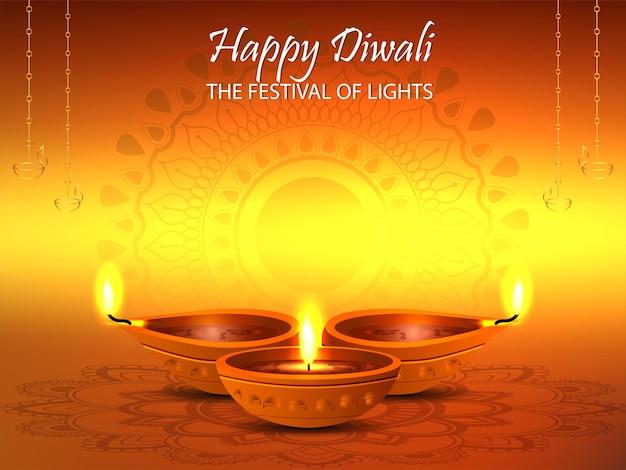Glücklicher diwali-vektor-illustrationshintergrund
