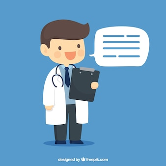 Glücklicher doktor mit klemmbrett