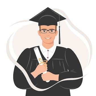 Glücklicher doktorand mit einem diplom, das eine robe und eine quadratische akademische mütze trägt