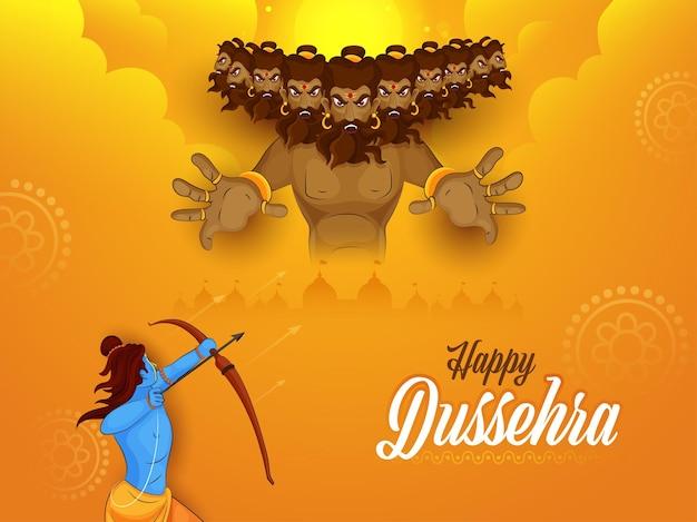 Glücklicher dussehra-feier-hintergrund mit lord rama, der auf dämon-ravana-illustration abzielt.