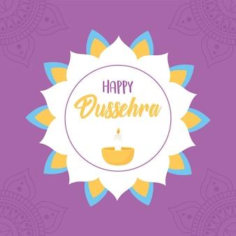 Glücklicher dussehra festival von indien blumenmandala diya lampe lila hintergrund