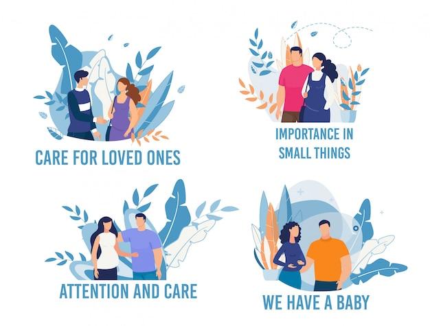 Glücklicher ehemann und schwangere frau flat cartoon set