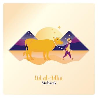 Glücklicher eid al adha mubarak, der eine kuh für das islamische opfer führt