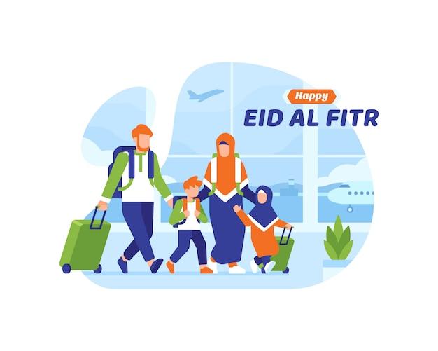 Glücklicher eid al fitr hintergrund mit muslimischer familie bestieg ein flugzeug am flughafen