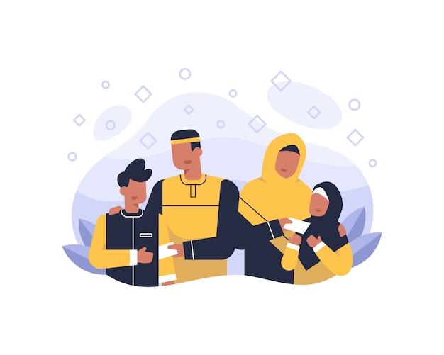 Glücklicher eid al fitr hintergrund mit muslimischer familienillustration