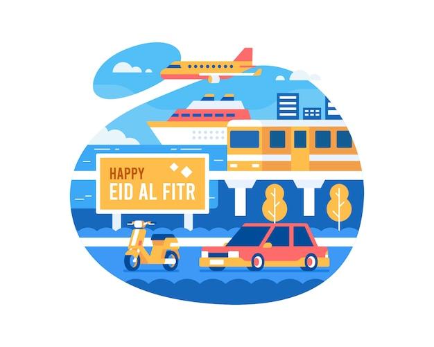 Glücklicher eid al fitr hintergrund mit transportfahrzeugillustration