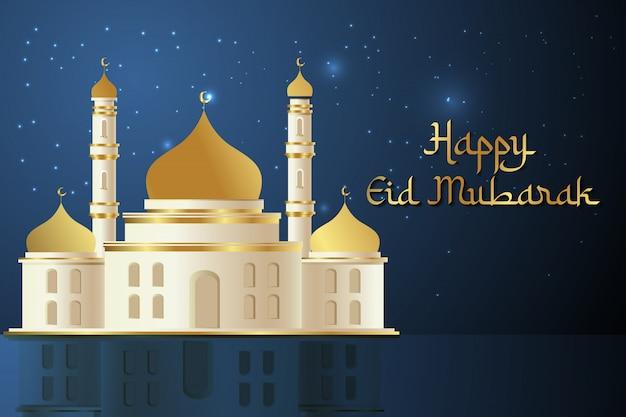 Glücklicher eid mubarak hintergrund mit moschee