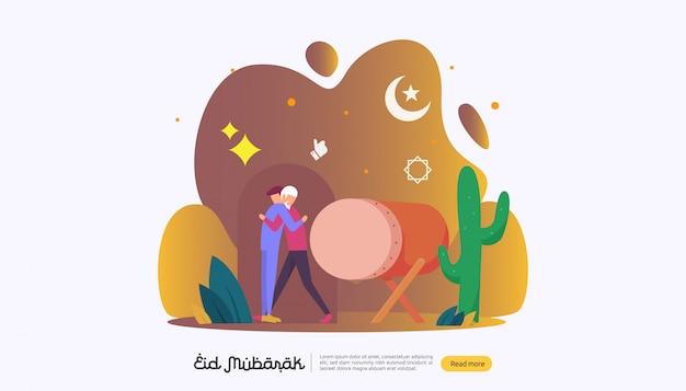 Glücklicher eid mubarak mit leutecharakter für netzlandungsseite