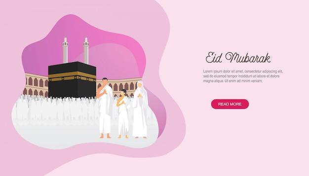 Glücklicher eid mubarak mit leutecharakter-landingpage