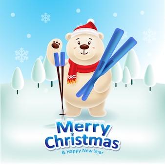 Glücklicher eisbär mit der roten kappe und rotem scraf, die ski spielen