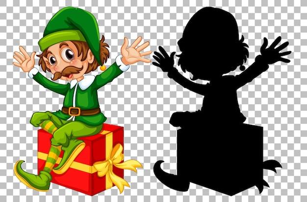 Glücklicher elf, der auf geschenkbox sitzt