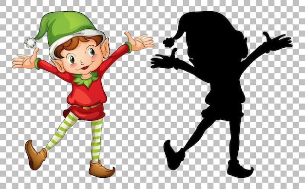 Glücklicher elf und seine silhouette