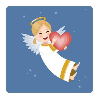 Glücklicher engel mit rotem herzen auf blauem himmel und sternen. flache vektorillustration