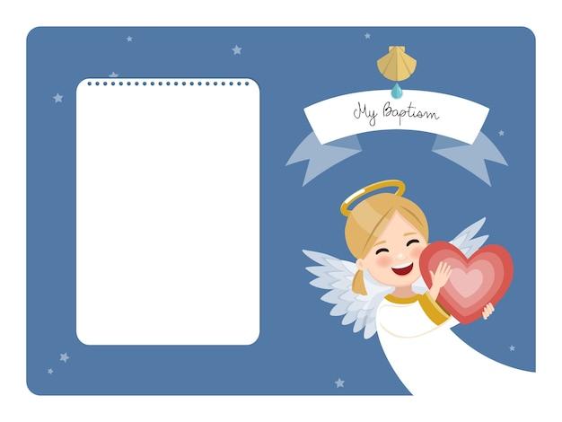 Glücklicher engel mit rotem herzen. horizontale einladung der taufe auf blauem himmel und sternen. flache vektorillustration