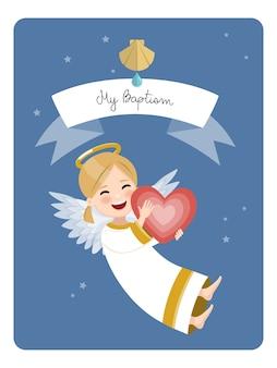 Glücklicher engel mit rotem herzen. tauferinnerung auf blauem himmel und sternen. flache vektorillustration