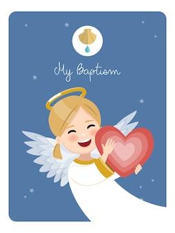 Glücklicher engel mit rotem herzen. tauferinnerung mit vordergrundmädchen und blauem himmel. flache vektorillustration