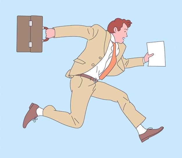 Glücklicher erfolgreicher geschäftsmann, der mit fall springt. illustration.