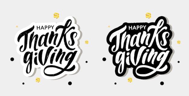 Glücklicher erntedank, der kalligraphie-bürsten-text-feiertags-aufkleber beschriftet