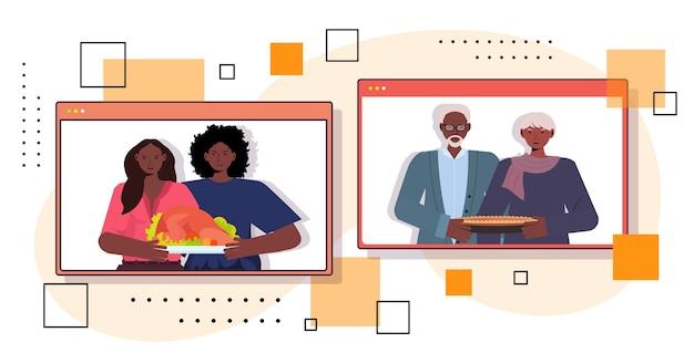 Glücklicher erntedankfest im webbrowser windows großeltern diskutieren mit kindern während des videoanrufkonzepts
