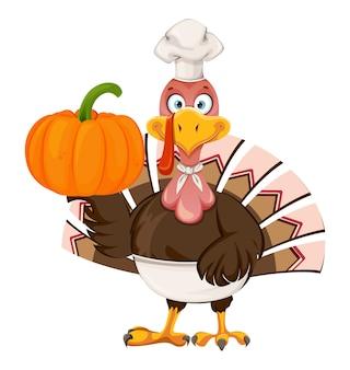 Glücklicher erntedankfest. lustige zeichentrickfigur thanksgiving-truthahnvogel