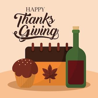Glücklicher erntedankfest mit muffin-kalender und weinentwurf, herbstsaison-thema