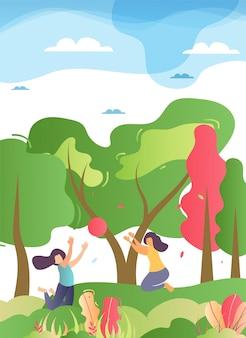 Glücklicher familien-spielball in forest illustration