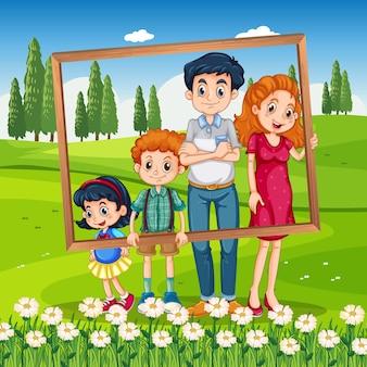Glücklicher familienfotorahmen im urlaub