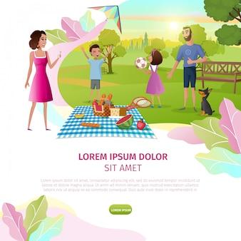 Glücklicher familienfreizeit-karikatur-vektor-web-fahne