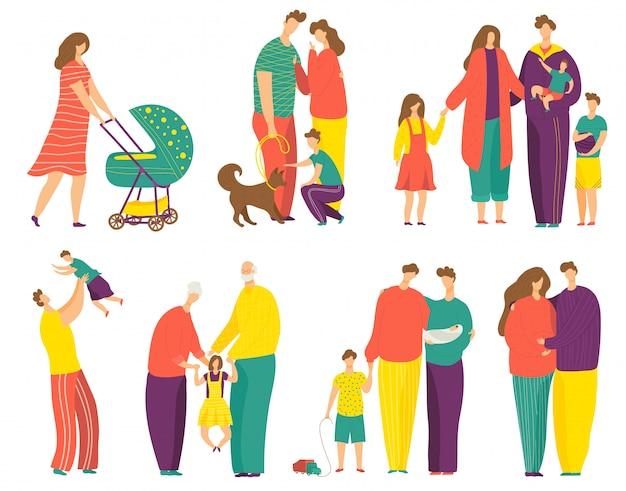 Glücklicher familienillustrationssatz, karikaturvater-, mutter- und tochter- oder sohnkindcharaktere, die zusammen auf weiß stehen