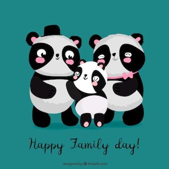 Glücklicher familientag mit panda trägt in der hand gezeichnete art