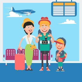 Glücklicher familienurlaub. junge familie, die zur abfahrt im flughafen wartet. vektor-illustration