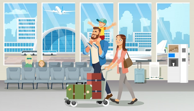 Glücklicher familienurlaubsreise-flug-karikatur-vektor