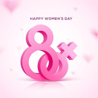 Glücklicher feiertag des frauentags. rosa text acht mit rosa weiblichem symbol.