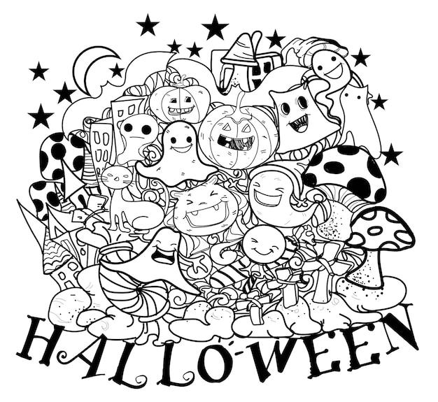 Glücklicher feiertag halloween-gekritzels