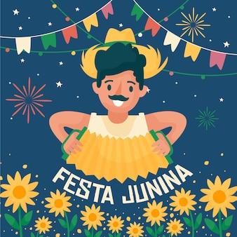 Glücklicher festa junina festivalmann, der das akkordeon spielt