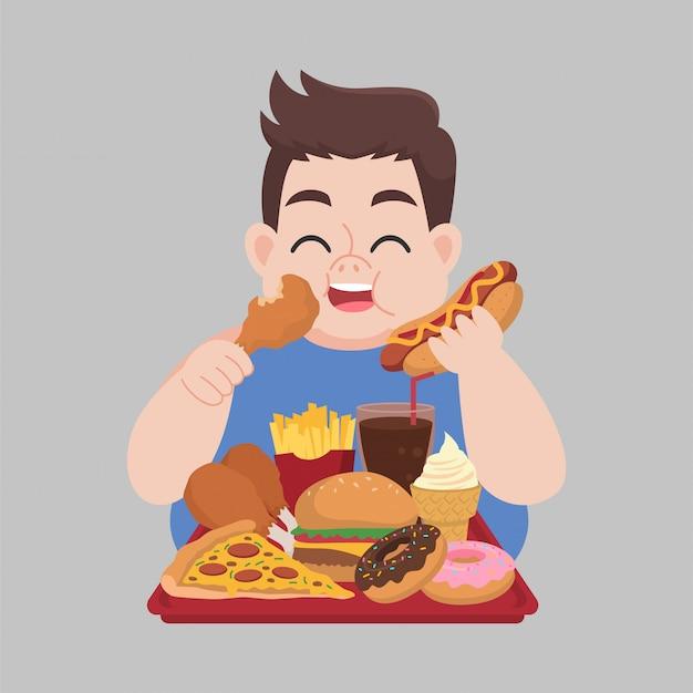 Glücklicher fetter mann genießen, trödelnahrung zu essen