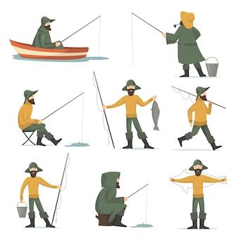 Glücklicher fischer mit dem flachen satz der angelrute
