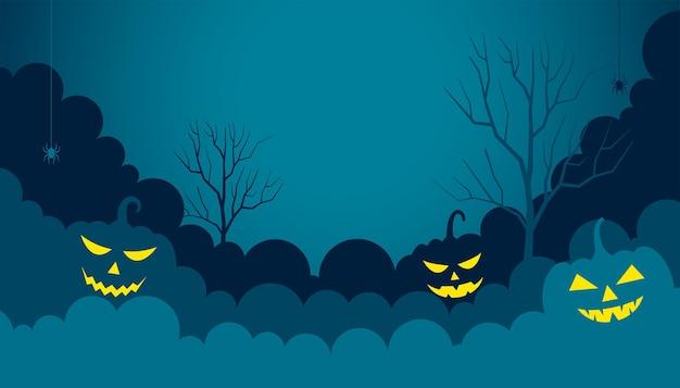 Glücklicher flacher papierhintergrund halloweens mit glühenden kürbisen