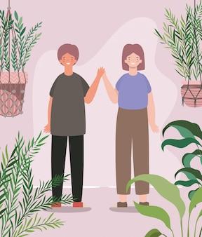 Glücklicher frauen- und mannkarikatur mit pflanzen innerhalb der töpfe