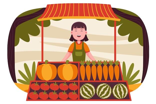 Glücklicher frauenbauer, der früchte am bauernmarkt verkauft.