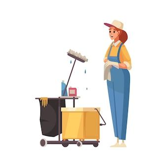 Glücklicher frauenreiniger mit werkzeugen zum reinigen und waschen von flachen symbolen