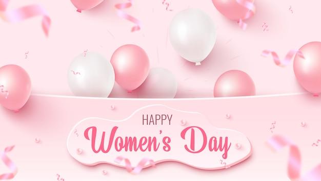 Glücklicher frauentag textentwurf mit kundenspezifischer weißer form, rosa und weißen luftballons, fallendes folienkonfetti auf rosigem hintergrund. frauentag vorlage.