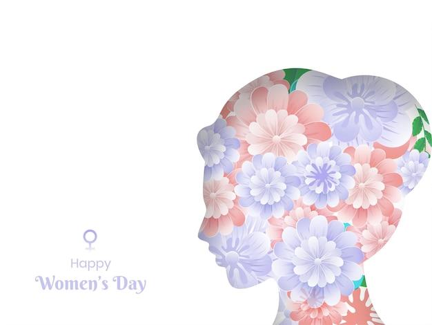 Glücklicher frauentagstext mit papierblumen verziert weibliches gesicht auf weißem hintergrund.