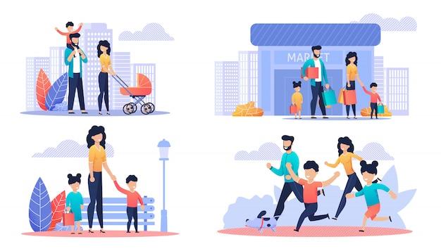 Glücklicher freier familientag karikatur-illustrations-satz