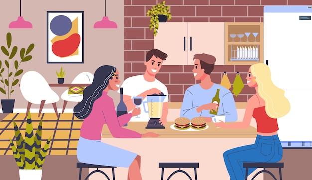 Glücklicher freund verbringen zeit zusammen und plaudern. home-party-konzept. mann und frau sitzen zusammen zu hause, trinken wein und essen hamburger. illustration