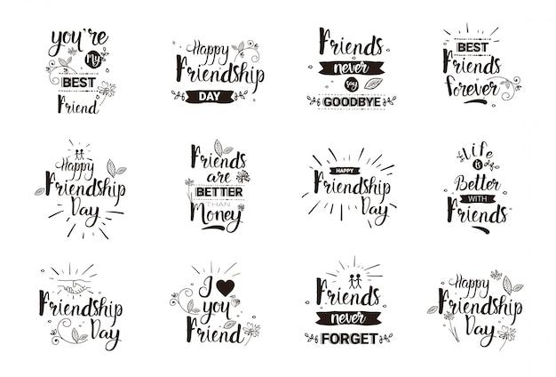 Glücklicher freundschafts-tag logo set grußkarten-sammlung-freund-feiertags-fahne